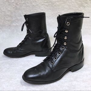 80s Vintage Black Leather Lace Up Ankle Boots